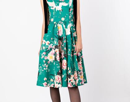 שמלת קורליין ירוקה פרחונית - שמלת ערב מידי עם כתפיות קטיפה אוברסייז