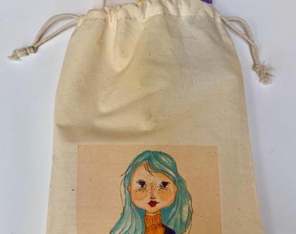 שקית בד עם שרוך - שקית בד מאויירת - תיק בד מודפס - נרתיק כותנה לכל מטרה - שקית בד לכריך - מתנה קטנה