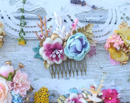 מסרקיה לשיער עם פרחים ורודים. מסרקייה פרחונית. מסרקייה עם פרחים לשיער. מסרקיית פרחים לשיער. מסרקיה לכלה. מסרקיה לחתונה.