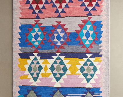 שטיח צבעוני בעיצוב קילים, שטיח צבעוני לסלון, שטיח צבעוני גדול