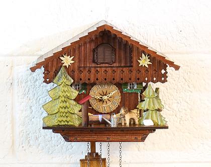 שעון קוקיה גדול מעץ, שעון קוקיה צבעוני, שעון קוקיה גרמני, שעון קוקיה על סוללות