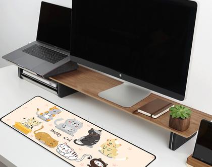 משטח גיימינג לעכבר ומקלדת | משטח לעכבר מחשב | משטח עכבר למחשב | מתנה לאוהבי חתולים