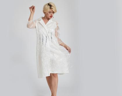 חולצת גקט טוניקה לבנה ארוכה - חולצה לבנה ארוכה מיוחדת מבד מקומט ובטנת כותנה - חולצת טוקסידו לבנה ארוכה