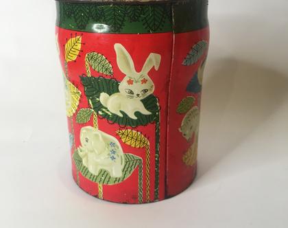 קופסת פח ישראלית צבעונית וינטג'ית