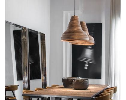 מנורת תלייה, מנורת תקרה, מנורת תלייה מפורניר מייפל, מנורת תקרה טבעית. אהיל פורניר. מנורת הוריקן אגוז