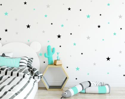 153 מדבקות כוכבים בשלושה צבעים ושלושה גדלים | מדבקות לחדר תינוקות | מדבקות ויניל | מדבקות לחדר ילדים | מדבקות לחדרי ילדים | מדבקות קיר