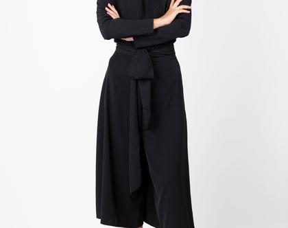 מכנסי חצאית שחורים לאירוע , מכנסיים לערב
