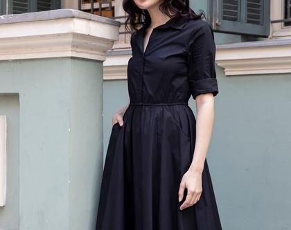 שמלת מידי מכופתרת שחורה
