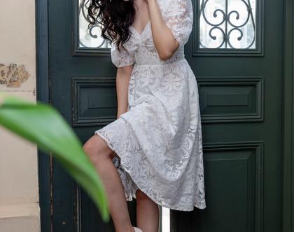 שמלת בלה תחרה לבנה - שמלת תחרה לבנה קצרה , שמלת כלה תחרה , שמלת כלה עם שרוולים