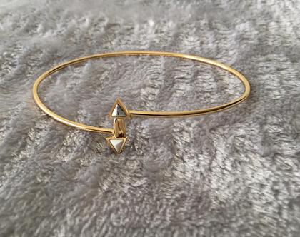 צמיד זהב עדין משובץ אבן ,צמיד stainless steel מצופה זהב,צמידי נשים [CLONE]