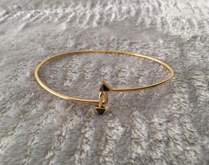 צמיד זהב עדין משובץ אבן ,צמיד stainless steel מצופה זהב,צמידי נשים [CLONE] [CLONE]