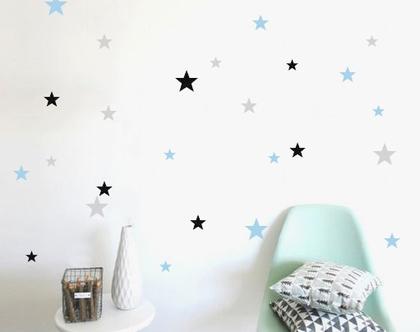 153 מדבקות כוכבים בשלושה צבעים | מדבקות לחדר תינוקות | מדבקות ויניל | מדבקות לחדר ילדים | מדבקות לחדרי ילדים | מדבקות קיר