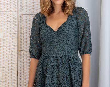 שמלת תחרה ירוקה - שמלת ערב ירוקה , שמלת ערב תחרה , שמלת ערב עם שרוולים
