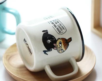 """כוס ספל אמייל חדשה ספלים מומינים 300 מ""""ל מתנה לחגים צבע לבן מקורית איכותית טיולים קפה תה סרטים מצוירים מומין טרול מתנה [CLONE]"""