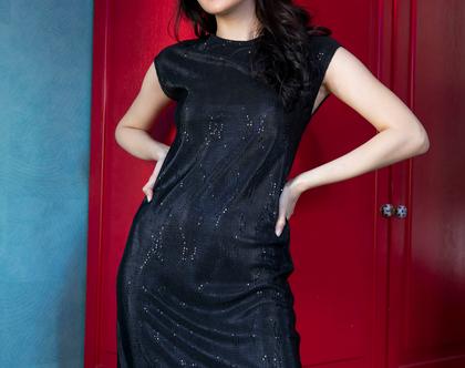 שמלת פליסה שחורה מנצנצת - שמלת ערב שחורה - שמלה לאירוע