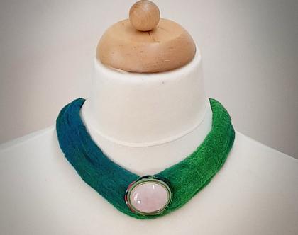 שרשרת קולר עם אבן רוז קוורץ | שרשרת בד קצרה וצבעונית
