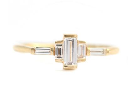 טבעת יהלום באגט אשכול האירוסין-באגט ארט דקו