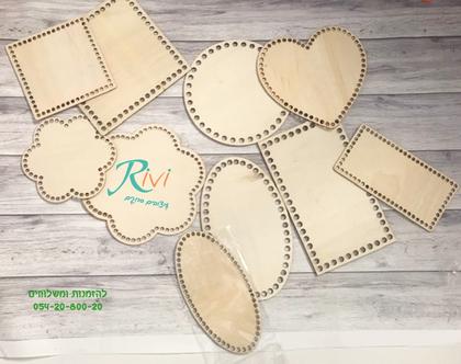 בסיס עץ לסריגת סלסלות , תחתית סריגת סלסלה מחוטי טריקו | ריבוע | מלבן| סלסלה סרוגה | סדנאות | סריגה בטריקו, חוטי טריקו לסריגה