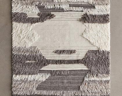 שטיח שאגי נורדי משולב אריגה שטוחה, שטיח נורדי אפור