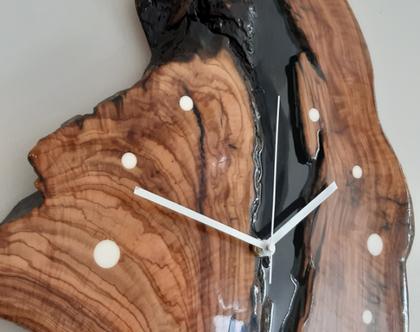 שעון קיר מעץ זית (023).