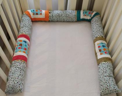 נחשוש מפלצות צוהלות - נחשוש עבודת יד | נחשוש מעוצב | נחשוש מפנק | מגן ראש למיטה | כרית נחש |עיצוב חדרי תינוקות | מתנה ליולדת | מתנה לתינוק