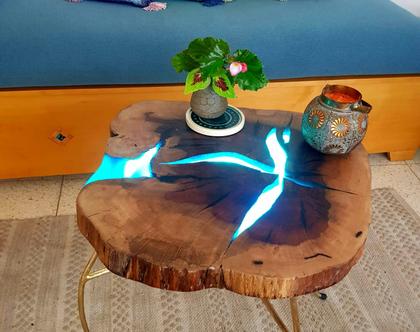 שולחן אקליפטוס גדול לסלון