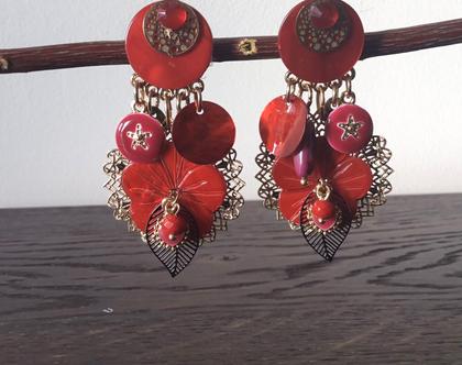 עגילי קליפס צבעוניים, עגילי קליפס אדומים עם תליונים, עגילים ללא חורים,עגילי נשים לאירוע