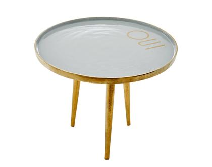 """שולחן מתכת אפור בהיר קטן עם כיתוב""""OUI"""""""