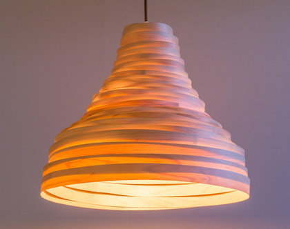 מנורת תלייה, מנורת תקרה, מנורת תלייה מפורניר מייפל, מנורת תקרה טבעית. אהיל פורניר, מנורת הוריקן
