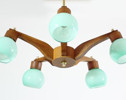 מנורת תקרה דניש עם זכוכיות טורקיז, נברשת וינטאג׳ משנות ה-60