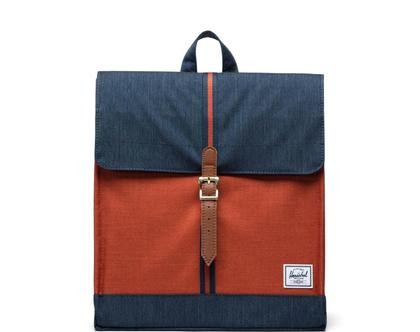 תיק גב הרשל צבע ג'ינס/כתום Indigo Denim City Backpack | Mid-Volume