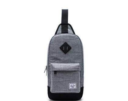 תיק גב/צד הרשל בצבע אפור Heritage Shoulder Bag Ash Raven Crosshatch/Black Herschel