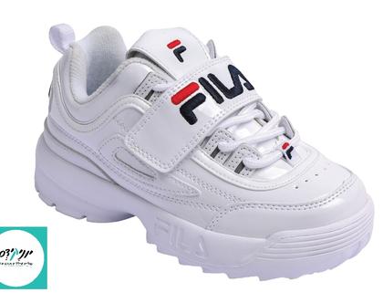 נעלי פילה דיסרפטור לילדים בצבע לבן FILA Disruptor OPEM white