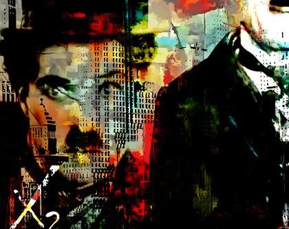 """צ'ארלי צ'פלין – """"Urban legend"""" - יצירת אמנות בשיטת Mixed-media בגודל של 80x120ס""""מ"""