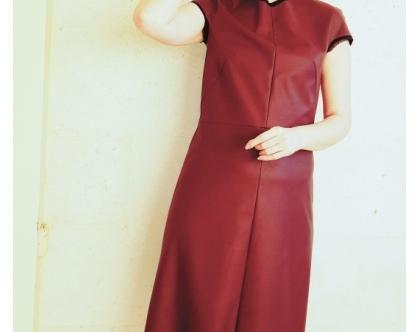 שמלה | שמלה מדמוי עור | שמלה אלגנטית | שמלה בורדו