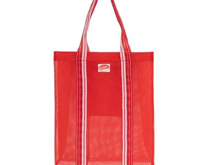 תיק קניות רשת פלסטיק פסים אדום KITSCH KITCHEN | SOFI]