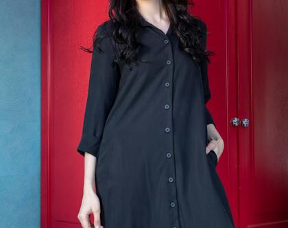 שמלת חולצה מכופתרת שחורה