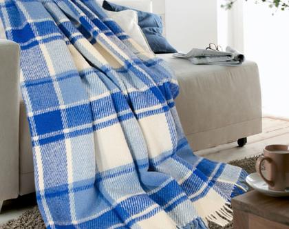 שמיכת טלוויזיה מצמר רך ניו זילדי שמיכת טלוויזיה להגנה מהקור כירבולית לחורף עיצוב סלון שמיכת צמר שמיכה חורפית מתנה לחג צמר רך שמיכה כחולה