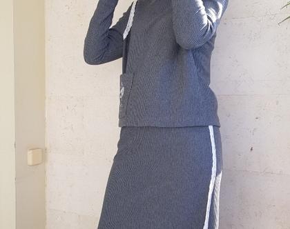 חליפת סריג | חליפה תקופת מעבר | חליפה אפורה | חצאית וחולצה | חליפת נשים אפנתית