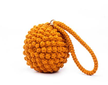 תיק יד סרוג דגם כדור מיוחד בצבע חרדל | תיקים סרוגים בעבודת יד | תיק סרוג | תיק צד מעוצב לאשה | תיק כתף אופנתי | תיקי יד לנשים | תיק צהוב