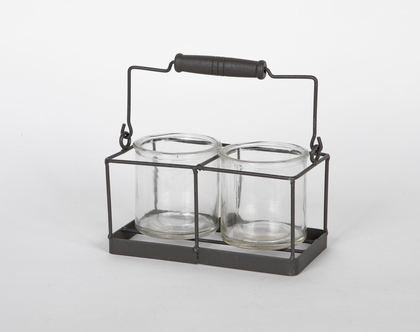 מתקן נשיאה ממתכת עם שתי צנצנות זכוכית