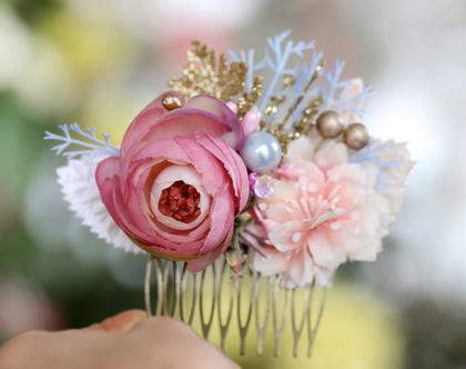 מסרקיה לשיער עם פרחים ורודים. מסרקייה פרחונית. מסרקייה עם פרחים לשיער. מסרקיית פרחים לשיער. מסרקיה לכלה. מסרקיה לחתונה. פרחים לשיער.