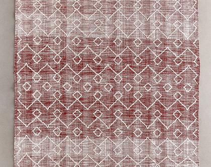 שטיח כותנה גיאומטרי ארוג באדום, שטיח אדום