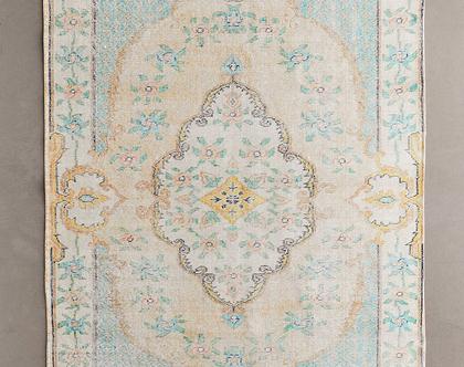 שטיח כותנה ומשי טורקיזי בעיצוב אתני, שטיח טורקיז