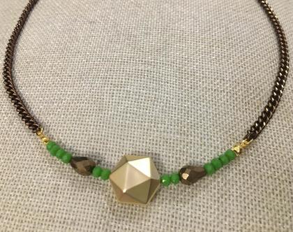 שרשרת בגווני זהב חום וירוק - שרשרת עם חרוזים צבעוניים - שרשרת ירוק זהב