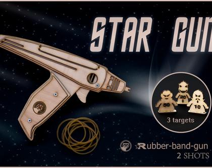 אקדח עץ יורה גומיות בהשראת Star Trek סטאר טרק
