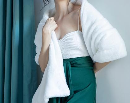 עליונית פרווה לבנה לשמלת כלה | שכמיה לשמלת כלה | עליונית לחופה