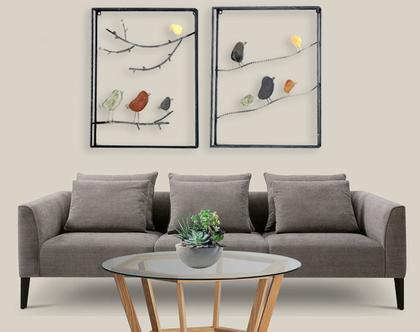 זוג תמונות ציפורים מברזל | ציפורים צבעוניות מפורזלות | דקורציית ציפורים צבעוניות | תמונת ציפורים צבעוניות מברזל מפורזל | קישוט לקיר [CLONE]