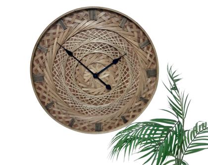 """שעון קיר רטאן צמות 60 ס""""מ.מסידרת ספארי"""
