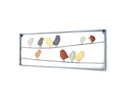 תמונת ציפורים מברזל | ציפורים צבעוניות מפורזלות | דקורציית ציפורים צבעוניות | תמונת ציפורים צבעוניות מברזל מפורזל | קישוט לקיר